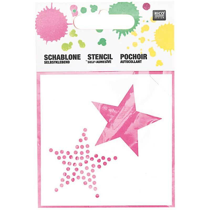 Schablone - 7,5 x 7,5 cm, selbstklebend, Sterne
