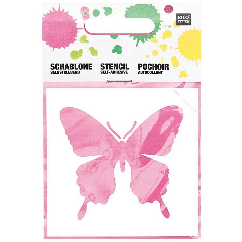 Pochoirs -7,5 x 7,5 cm, autocollants, papillon