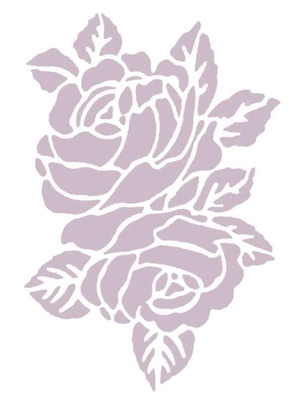 Pochoirs - 18,5 x 24,5 cm, autocollants, roses