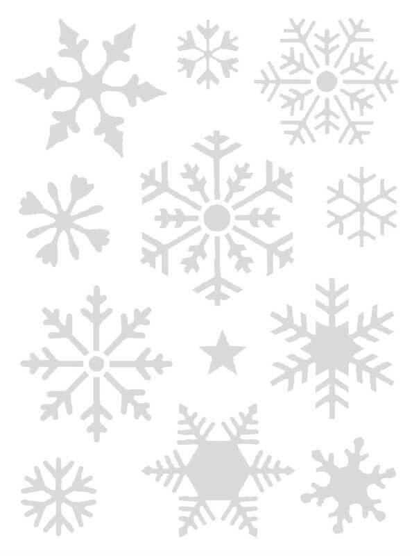 Pochoirs - 18,5 x 24,5 cm, autocollants, flocons