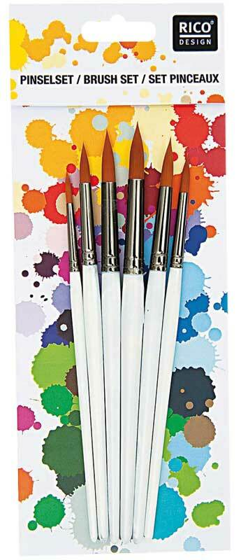 Set de pinceaux acryliques - 6 pces, rond