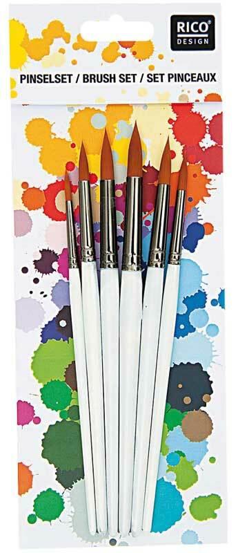 Acryl penselenset - 6 stuks, rond
