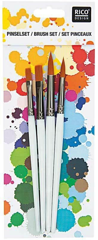 Acryl penselenset - 4 stuks, platte/rond