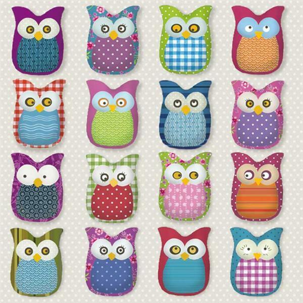 Servetten - 20 st./pak, many owles