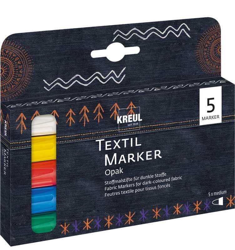 Marqueurs textile - opaque, 5 pce