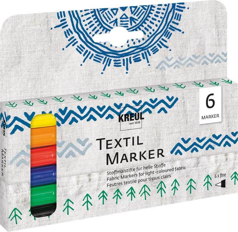 Lot marqueurs textile - couleurs de base, fin, 6 p