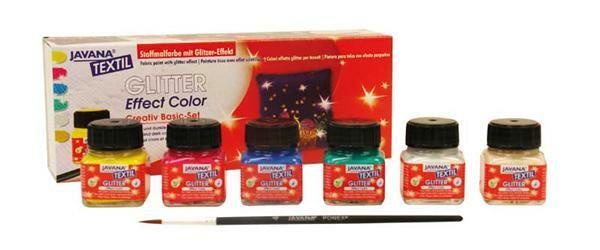 Javana Stoffmalfarben Set, glitter