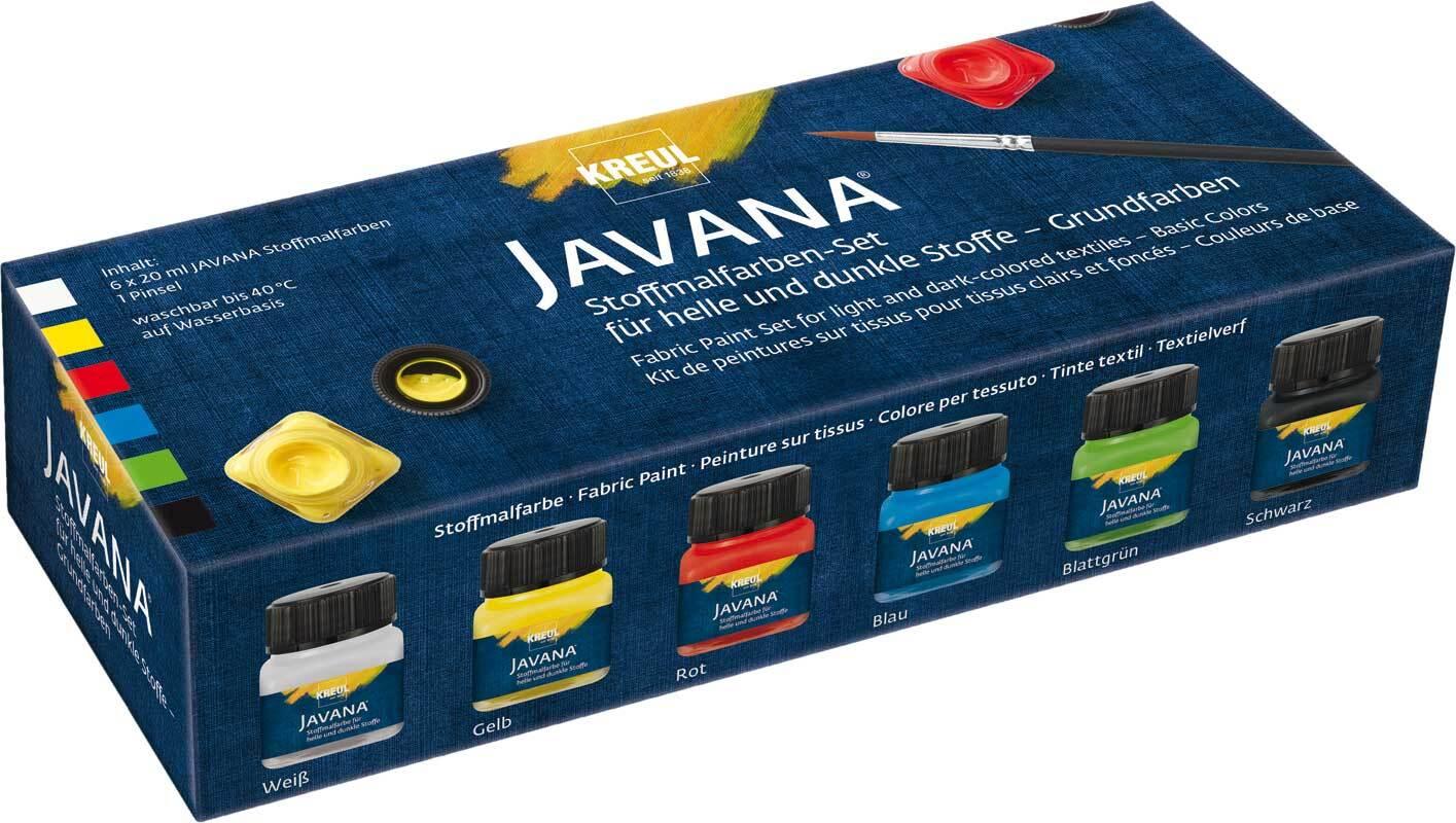 Javana textielverf-set, basiskleuren opaak