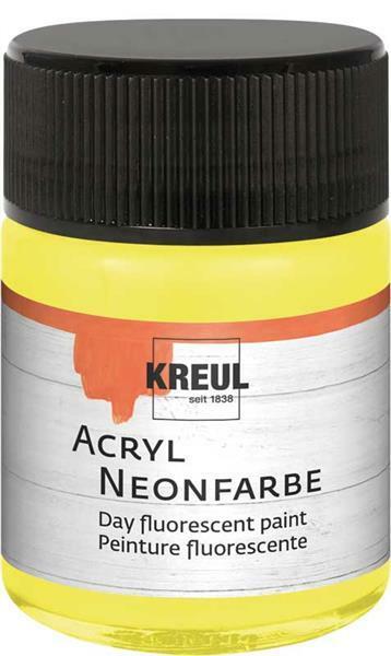 Peinture acrylique néon - 50 ml, jaune néon