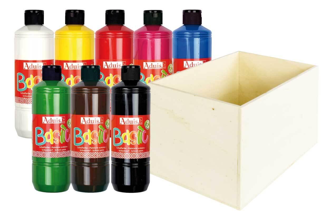 Aduis Sparpaket - 8 Schulfarben mit Holzbox