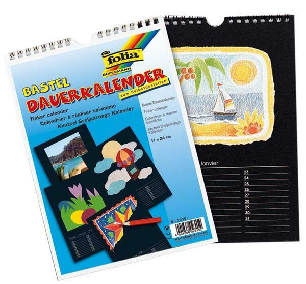 Mal- und Bastelkalender - 17 x 24 cm, schwarz