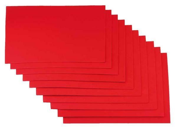 Schuimrubber (foam) -10st./pak, 20x29cm, rood