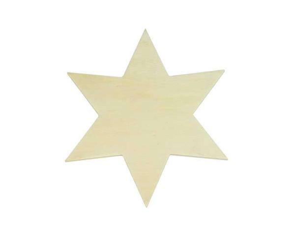 Populierenhout - ster, 16 x 16 cm