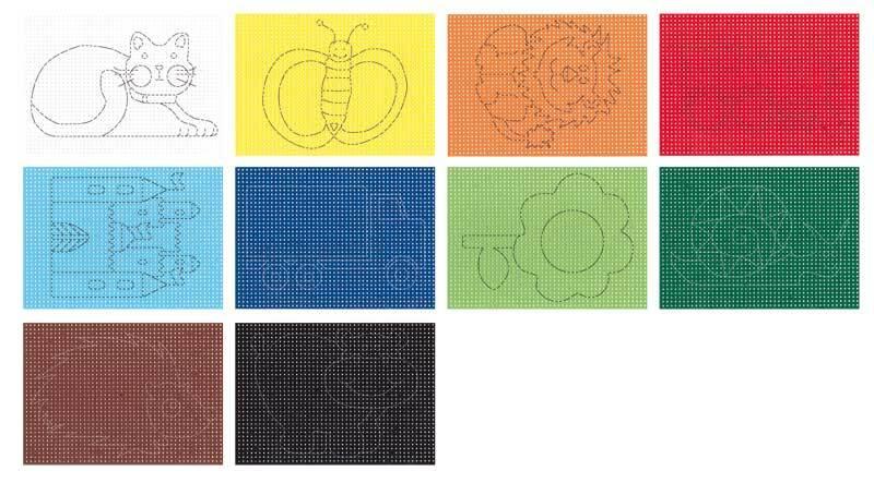 Borduurkarton - 40 vel, gekleurd