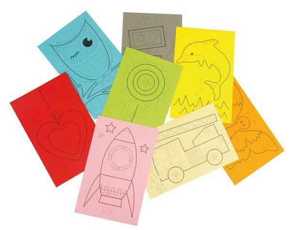 Ausnähkarten, 8 Motive, farbig sortiert