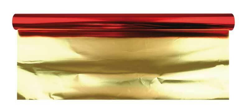 Alu-knutselfolie - 50 cm breed, 10 m, rood-goud