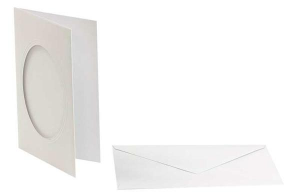 Passepartoutkarten oval, 3er Pkg. weiß