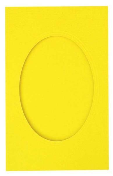 Passepartoutkarten oval, 3er Pkg. bananengelb
