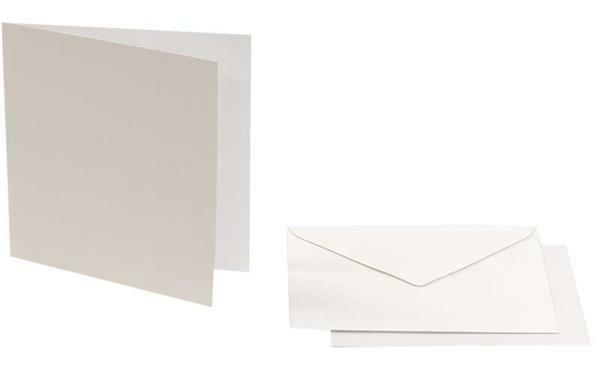 Cartes doubles carrées, 5 pces, blanc