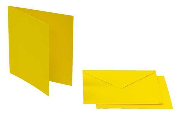 Doppelkarten quadratisch, 5er Pkg. bananengelb
