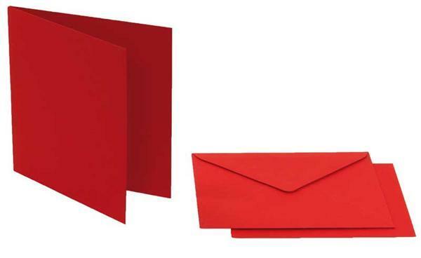 Dubbele kaarten vierkant, 5 st. dieprood