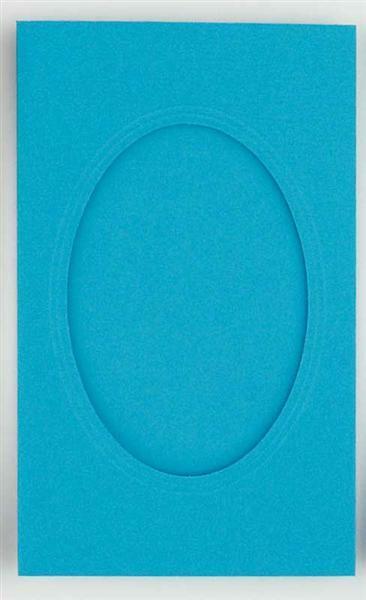 Passepartoutkarten oval, 3er Pkg. himmelblau