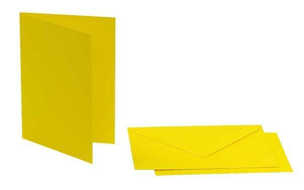 Doppelkarten rechteckig, 5er Pkg. bananengelb