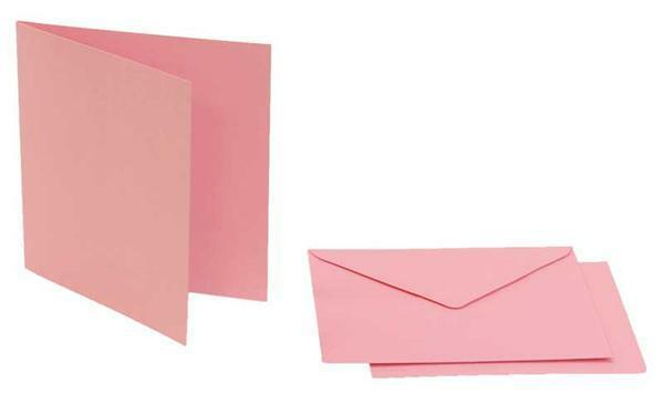 Dubbele kaarten vierkant, 5 st. roze