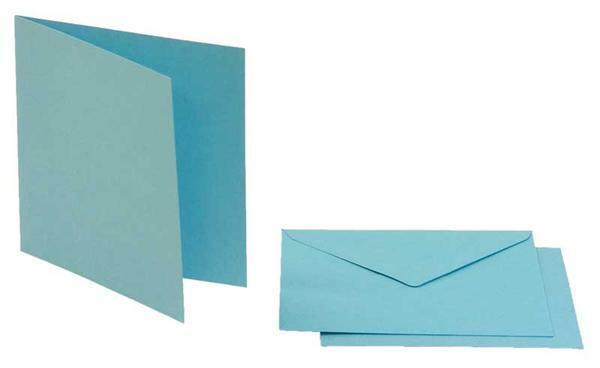 Dubbele kaarten vierkant, 5 st. hemelsblauw