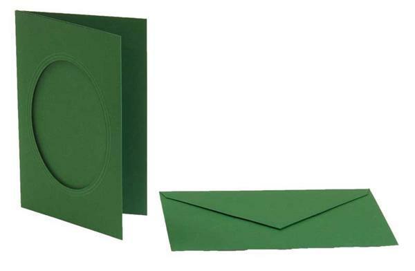 Passepartoutkarten oval, 3er Pkg. smaragdgrün