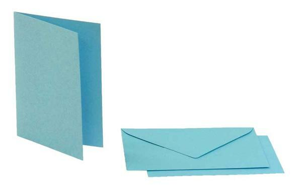 Dubbele kaarten rechthoek, 5 st. hemelsblauw
