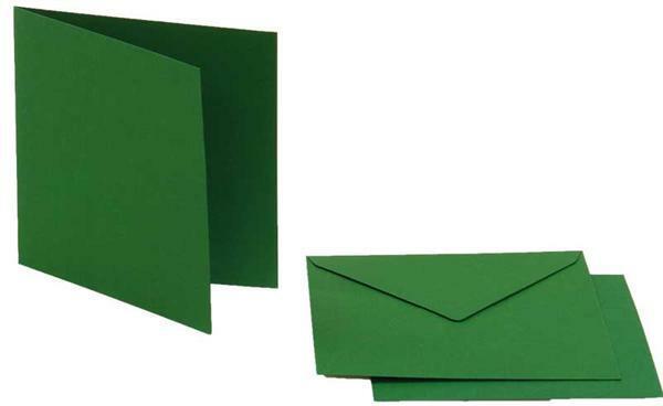 Dubbele kaarten vierkant, 5 st. dennengroen