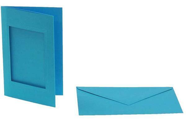 Passepartoutkarten rechteckig, 3er Pkg. Himmelblau