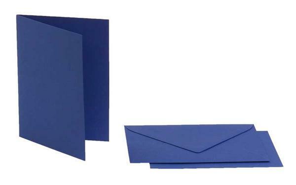 Cartes doubles rectangulaires - 5 pces, bleu roi