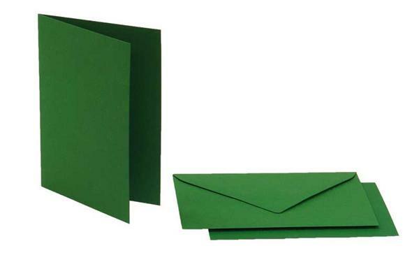 Doppelkarten rechteckig, 5er Pkg. tannengrün