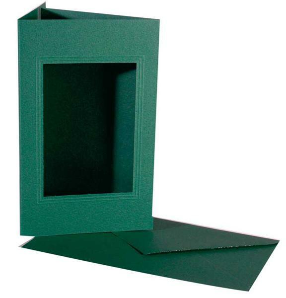 Passepartoutkarten rechteckig, 3er Pkg. Smaragdgrü