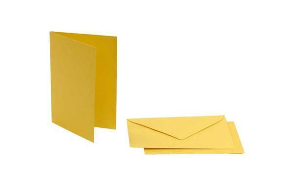 Doppelkarten rechteckig, 5er Pkg. gold