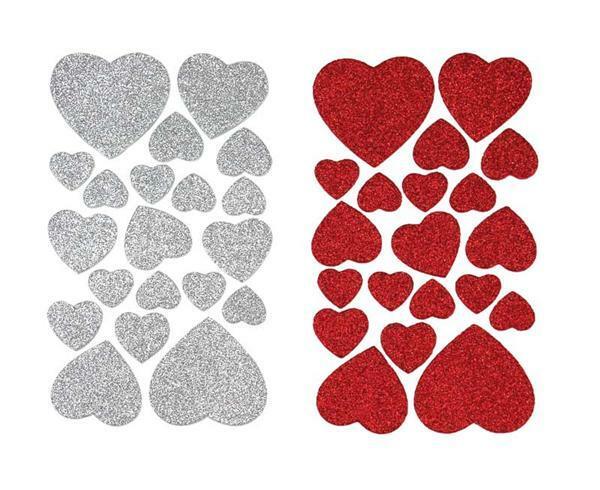 Moosgummi - Sticker, glitter, Herzen