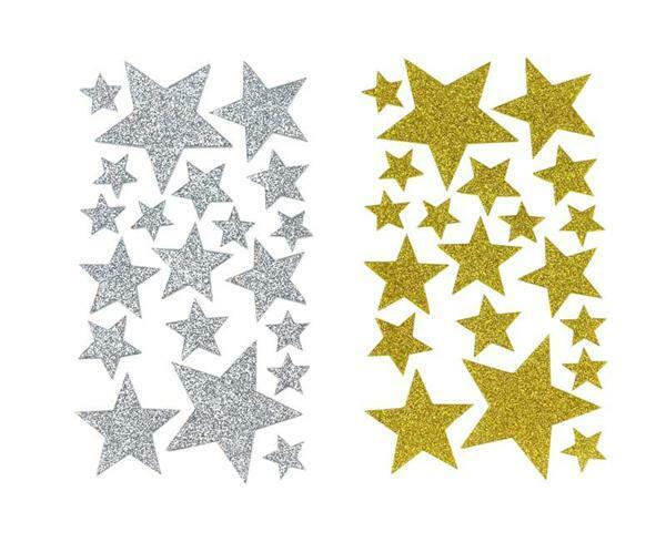 Schuimrubber (foam) - sticker, glitter, sterren