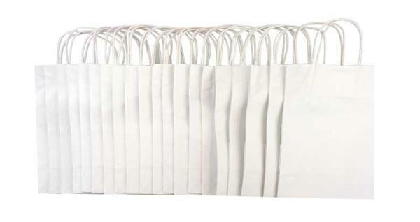 Sacs en papier - blanc, 20 pces, M
