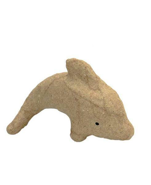 Papier-maché figuur - dolfijn, 12 x 7 cm