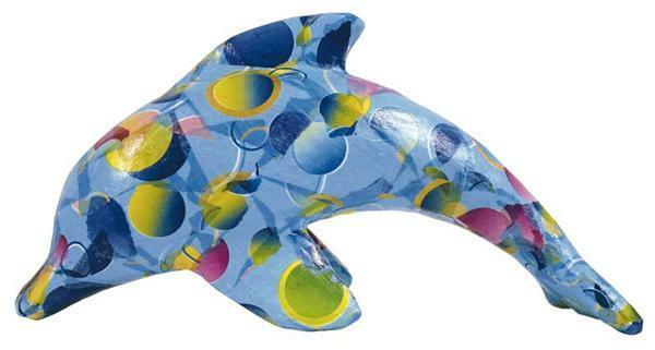 Animaux en papier mâché - dauphin, 12 x 7 cm