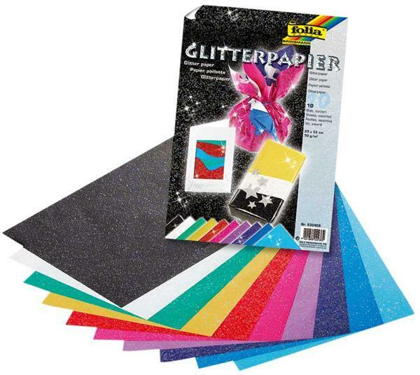 Glitterpapier - 23 x 33 cm, 10 vel