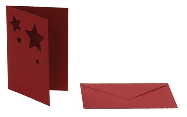 Cartes doubles - motif étoile, rouge foncé