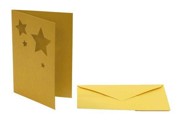 Dubbele kaarten motief gestanst ster, goud