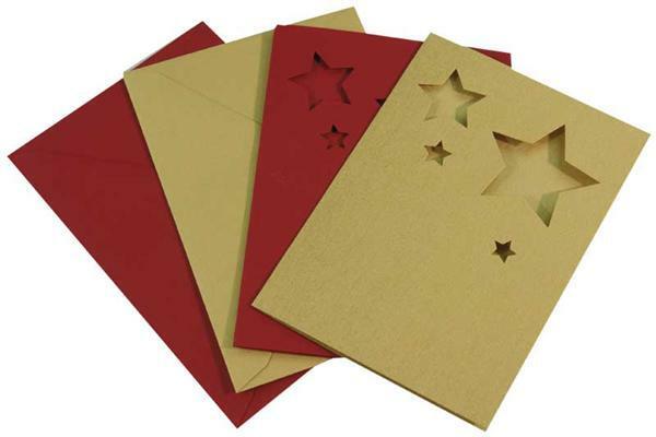 Cartes doubles - motif étoile, or