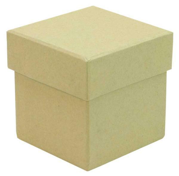 Papier-maché doos - kubus, 7,6 cm
