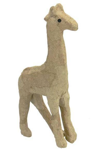 Papier-maché figuur - giraf, 16 x 8 cm