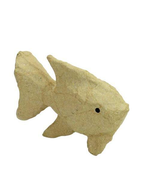 Papier-maché figuur - vis, 10 x 8 cm