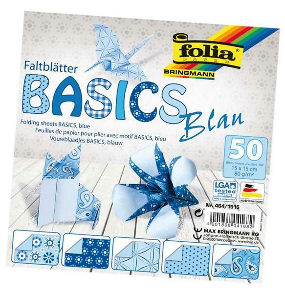 Papier à plier avec motifs - 15 x 15 cm, bleu